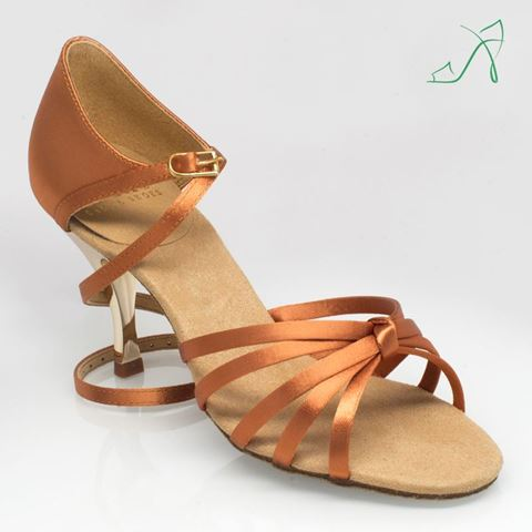 Obrazek 825 Drizzle | ULTRA-FLEX | Light Tan Satin | Gold Heel | Sale