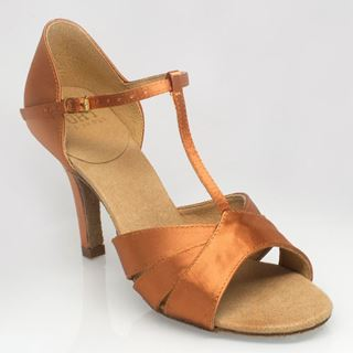 "Bild von C222 Carmen 2 | Light Tan Satin | 3"" Flared Heel 