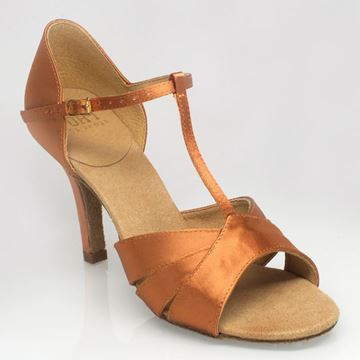 "Obrazek C222 Carmen 2 | Light Tan Satin | 3"" Flared Heel | Sale"