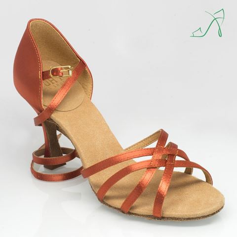 "Picture of 835 Monsoon | Dark Tan Satin | 3.2"" Flared Heel 