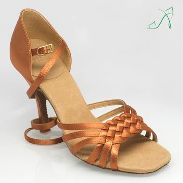 "Picture of H869X Moonglow Xtra | ULTRA-FLEX | Light Tan Satin | 3.2"" Slim Heel 