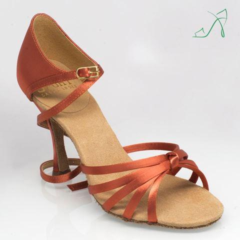 "Obrazek 825 Drizzle | ULTRA-FLEX | Dark Tan Satin | 3.2"" Flared Heel | Sale"