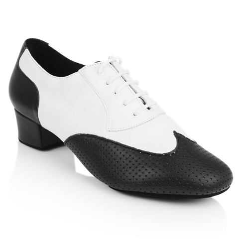 Obrazek 318 Adolfo Black & White Leather | Latin Dance Shoes