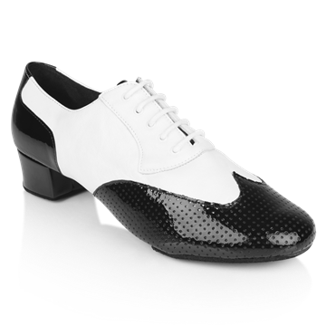 Obrazek 318 Adolfo Black Patent & White Leather  | Salsa Dance Shoes