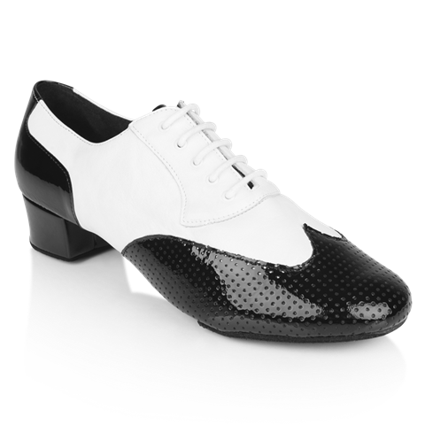 Picture of 318 Adolfo Black Patent & White Leather  | Salsa Dance Shoes