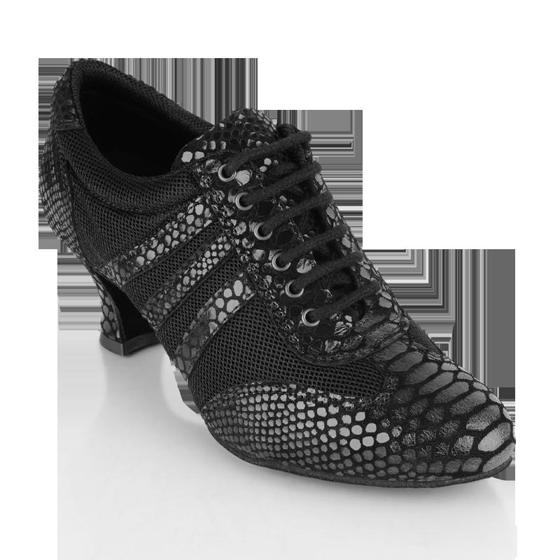 418 Tiber Black Croc Leather Black Mesh
