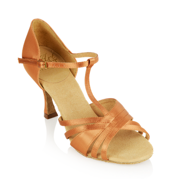 Picture of 816-X Medusa Xtra | Light Tan Satin - Flared Heel | Ladies Latin Dance Shoes | Sale