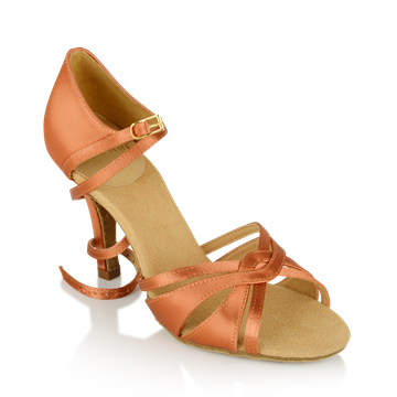 Obrazek 884-X Aura Xtra | Dark Tan Satin  | Latin Dance Shoes