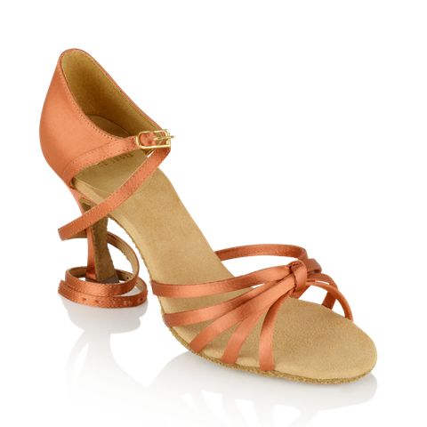Obrazek 825-X Drizzle Xtra | Dark Tan Satin | Ladies Latin Dance Shoes
