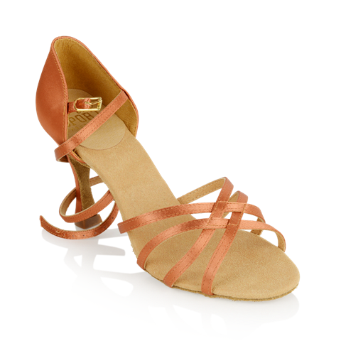 Picture of 835-X Monsoon Xtra | Dark Tan Satin | Ladies Latin Dance Shoes | Sale