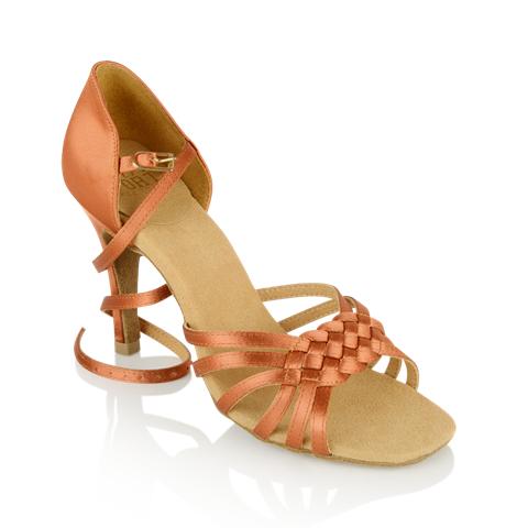 Picture of H869-X Moonglow Xtra | Dark Tan Satin | Ladies Latin Dance Shoes