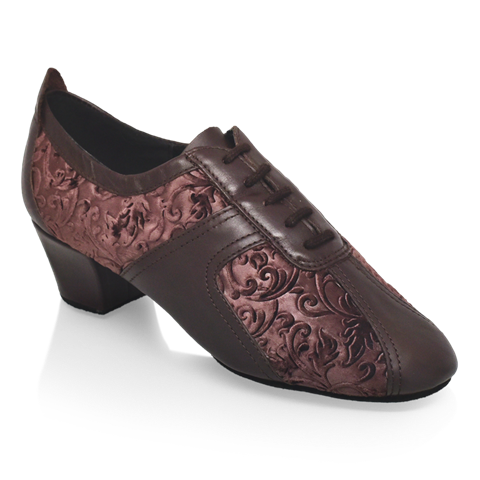 Obrazek 410 Breeze | Brown Leather/Pressed Velvet | Practice Dance Shoes | Sale