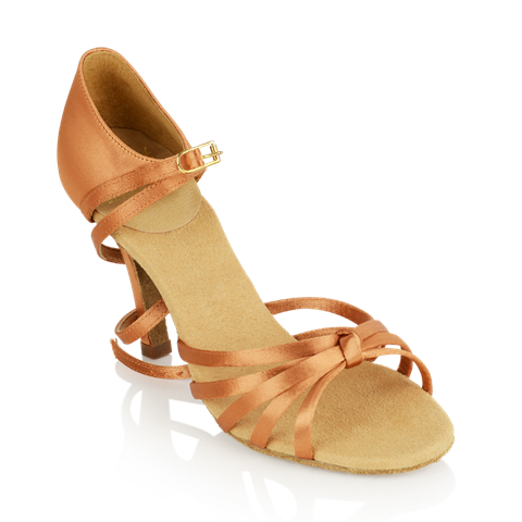 Picture of 825-X Drizzle Xtra | Light Tan Satin | Stiletto Heel | Ladies Latin Dance Shoes | Sale