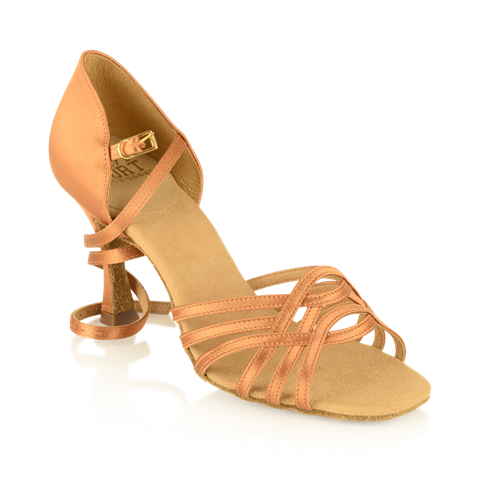 Picture of H845-X Persephone Xtra | Light Tan Satin | Stiletto Heel | Latin Dance Shoes | Sale