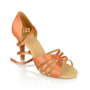 Picture of 895-X Eris Xtra | Dark Tan Satin | Stiletto Heel | Latin Dance Shoes | Sale