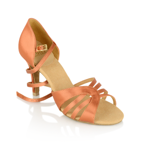 Obrazek 895-X Eris Xtra | Dark Tan Satin | Stiletto Heel | Latin Dance Shoes | Sale