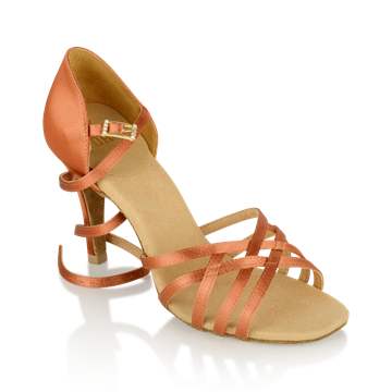 Bild von H860-X Kalahari Xtra | Dark Tan Satin | Stiletto Heel | Ladies Latin Dance Shoes | Sale