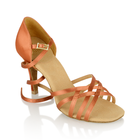 Obrazek H860-X Kalahari Xtra | Dark Tan Satin | Stiletto Heel | Ladies Latin Dance Shoes | Sale