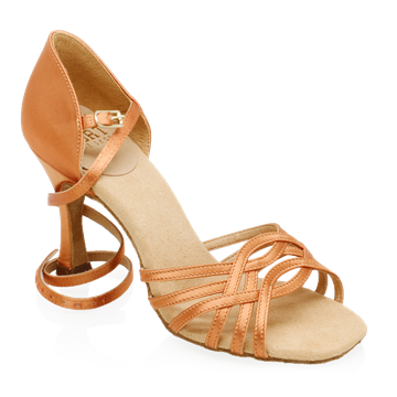 Picture of H845-X Persephone Xtra | Light Tan Satin | Latin Dance Shoes