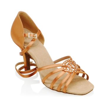 Imagen de H885-X Raindrop | Light Tan Satin | Ladies Latin Dance Shoes