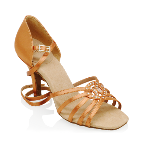 Immagine di H885-X Raindrop | Light Tan Satin | Ladies Latin Dance Shoes