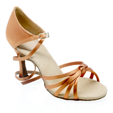 Obrazek 825-X Drizzle Xtra | Light Tan Satin | Ladies Latin Dance Shoes