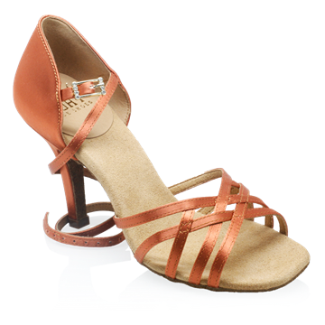 Picture of H860-X Kalahari Xtra | Dark Tan Satin | Ladies Latin Dance Shoes